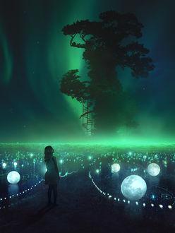 Фото Девочка смотрит на волшебное дерево, art by Martina Stipan