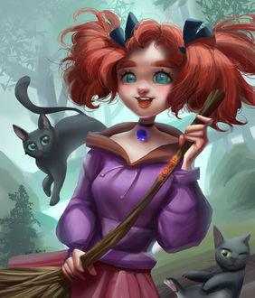 Фото Mary / Мэри с метлой и двумя черными кошками, арт на мультфильм Mary and the Witchs Flower / Мэри и ведьмин цветок, by Yuki Wu