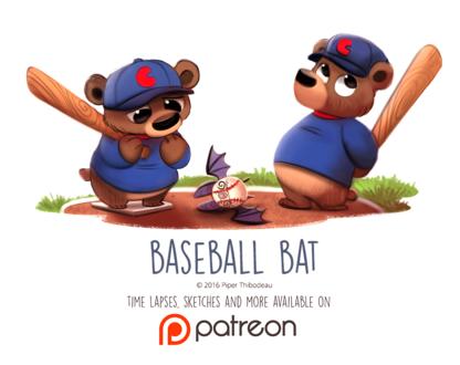 Фото Два медвежонка с битами, по середине лежит мяч летучая мышка (Baseball Bat), by Cryptid-Creations