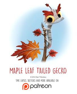 Фото Ящерка с осенними листьями (Maple Leaf-tailed Gecko), by Cryptid-Creations