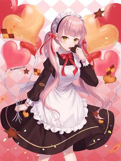 Фото Юная горничная с воздушными шариками в форме сердечек собирается полакомиться шоколадкой, by Eunji0093
