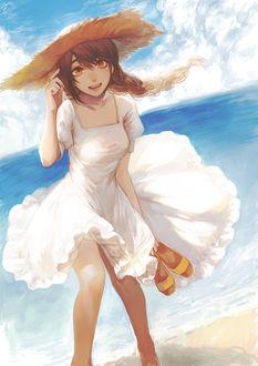 Фото Девушка в летнем белом платьице и шляпке, с обувью в руках, стоит на берегу моря, art by kaiko suzume