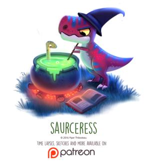 Фото Тираннозавр варит зелье с зауропода (Saurceress), by Cryptid-Creations