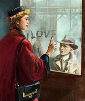 Фото Девушка держит руку на стекле окна, за которым стоит мужчина, (Love / любовь), американский художник-иллюстратор Артур Сарнофф / Arthur Saron Sarnoff