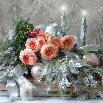 Фото Нежно- розовые герберы и розы среди хвои в белоснежном инее, свечей, нарядных нежных елочных шаров и белых атласных бантов перед заиндевелым окном с морозными узорами