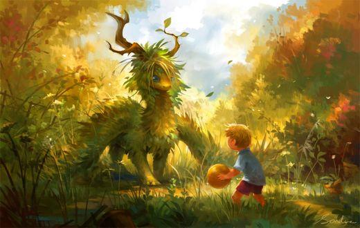 Фото Мальчик и травяной дракончик, by Sandara