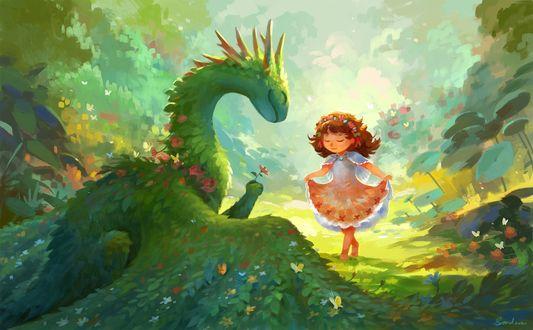Девочка и травяной дракончик, by Sandara
