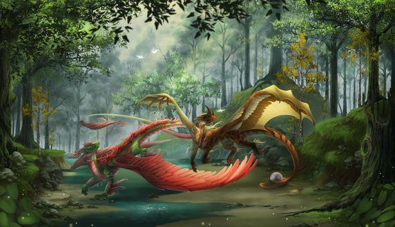Фото Играющие в лесу драконы засмотрелись на пролетающих мимо птиц, by Gosetsuki