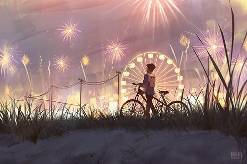 Фото Девочка с велосипедом стоит на фоне колеса обозрения и салютов в небе, by aleikats