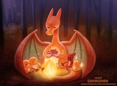 Фото Charizard / Чаризард, Charmander / Чармандер и Charmeleon / Чармелеон из аниме okemon / Покемон (Chorizord), by Cryptid-Creations