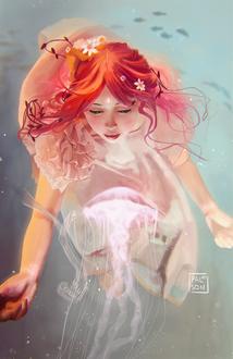 Фото Девушка и медуза под водой, by palsonart