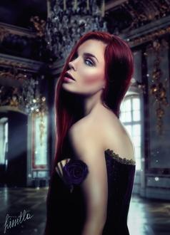 Фото Девушка с длинными волосами с розой в руке, by LilyFlorentine