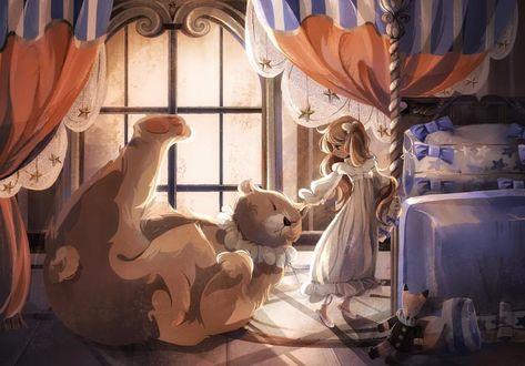 Фото Девочка стоит рядом с большой кошкой, by kunatata