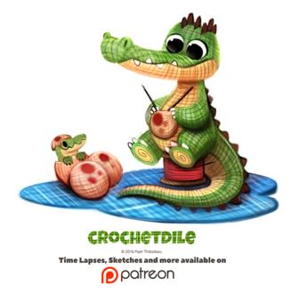 Фото Вязанный крокодил вяжет яйца, рядом маленький вязанный крокодильчик (Chrochetdile), by Cryptid-Creations