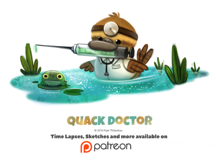 Фото Утка-доктор с уколом, рядом лягушка (Quack Doctor), by Cryptid-Creations