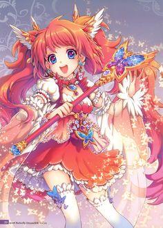 Фото Девушка в костюме волшебницы с пышной рыжей шевелюрой на сером фоне, art by Nardack