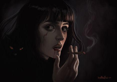 Фото Девушка с черной кошкой на плече, курит сигарету, by Lesya BlackBird