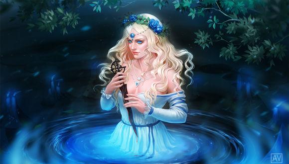 Фото Девушка с голубыми розами на голове держит кинжал, by anavys