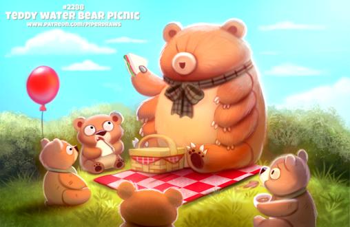 Фото Медведь много-лапка держит сенгвич, рядом сидят медвежата на питнике (Teddy Water Bear Picnic), by Cryptid-Creations