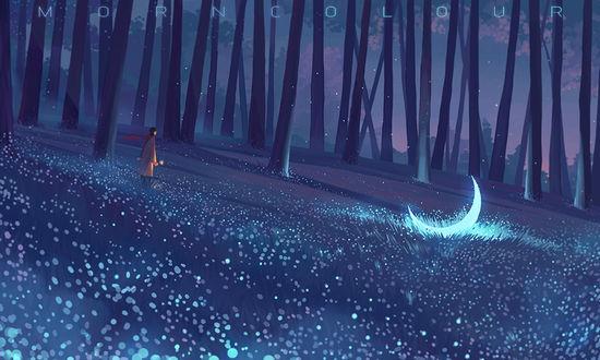 Фото Парень с цветком в руке стоит в ночном лесу и смотрит на полумесяц, лежащий в траве, by MORNCOLOUR