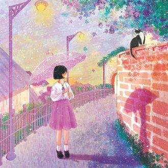 Фото Девочка с зонтом в руке смотрит на кошку, сидящую на кирпичном заборе, by dotol_l
