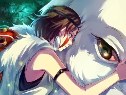 Фото San / Сан обнимает волчицу Moro / Моро, арт аниме Princess Mononoke / Принцесса Мононоке / Mononoke Hime