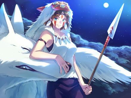 Фото San / Сан и белый волк из аниме Princess Mononoke / Принцесса Мононоке / Mononoke Hime