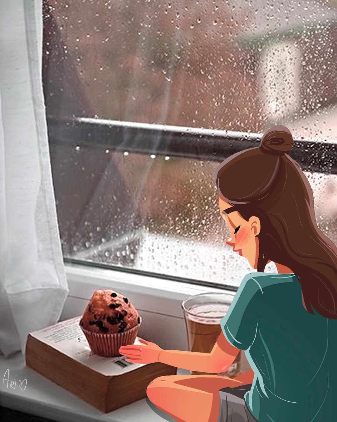 Фото Девушка сидит на окне, за которым идет дождь, by dariart. art