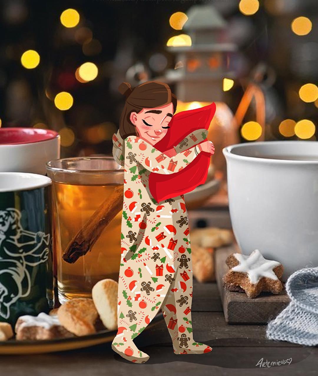 Фото Девушка в пижаме обнимает подушку, стоя на столе среди чашек, by dariart. art
