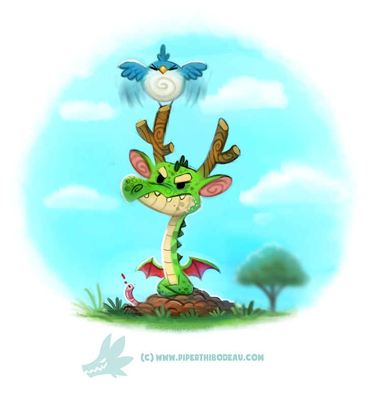 Фото Птичка и зеленый рогатый дракончик, by Cryptid-Creations
