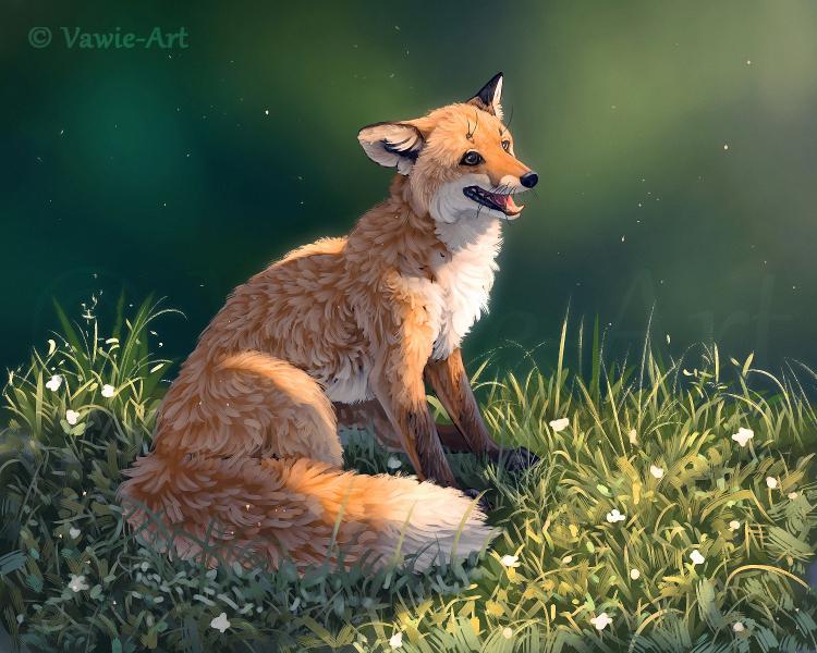 Фото Счастливая лисичка на зеленой поляне, by Vawie-Art