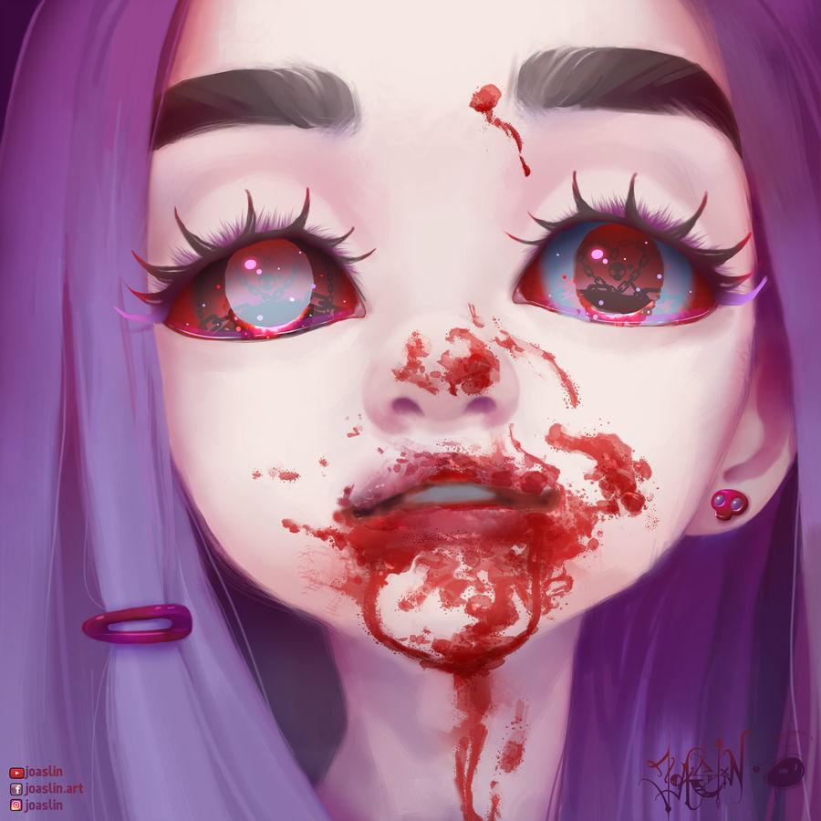 Фото Девушка с окровавленным лицом, в глазах которой отражаются цепи и черепа, by JoAsLiN