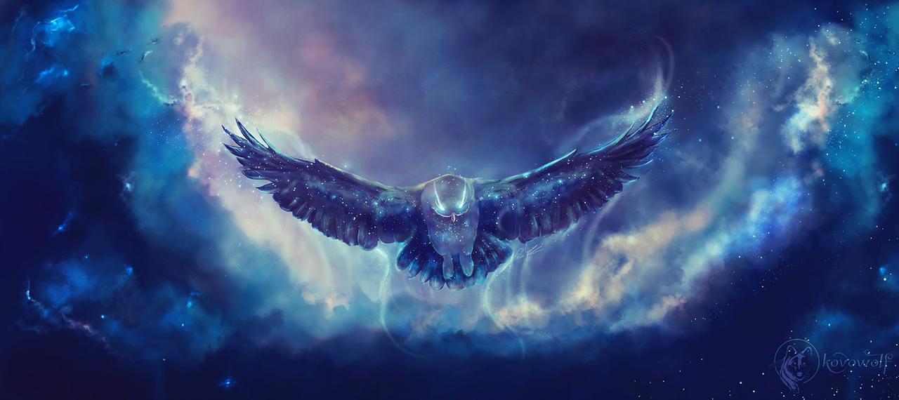 Фото Космическая сова в ночном небе, by KovoWolf