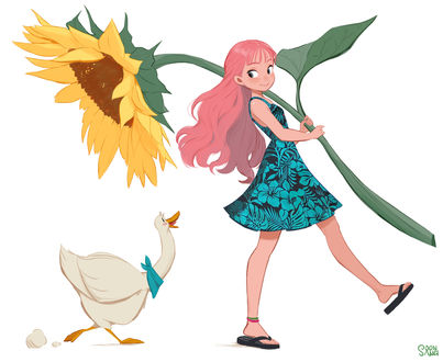 Фото Девушка несет большой цветок подсолнуха, а за ней поспевает гусь, by Hong SoonSang