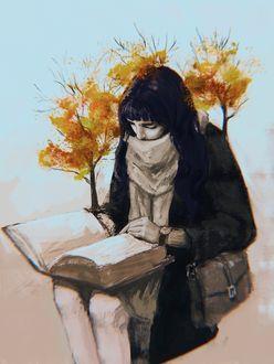 Фото Девушка, из которой растут деревья, читает книгу, by Agata Jankowiak