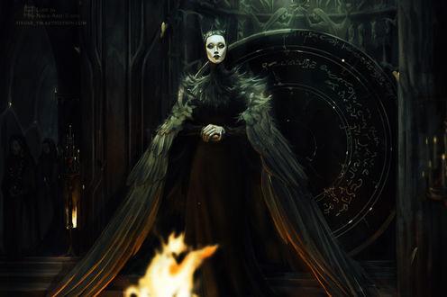 Фото Девушка-птица стоит перед огнем, by Alena YMhin