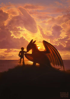 Фото Hiccup / Иккинг и Ночная Фурия (Беззубик) / Night Fury (Toothless), арт к мультфильму How to Train Your Dragon / Как приручить дракона, by Lhuin
