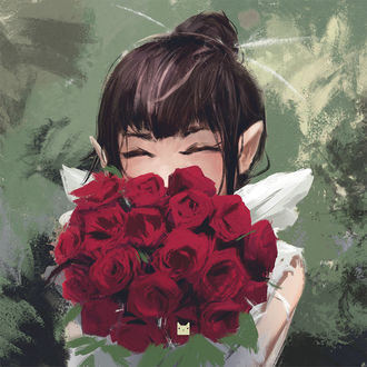 Фото Эльфийка с букетом роз, by wacalac