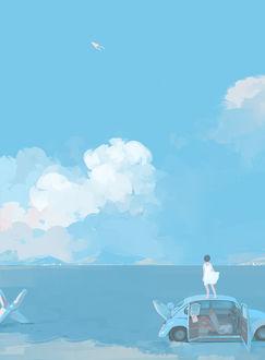 Фото Девушка в белом платье стоит на крыше автомобиля, припаркованного у моря, и смотрит вдаль, art by Bangqiao Yan