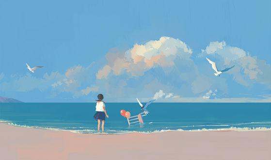 Фото Девушка смотрит на воздушные шарики и чаек, парящих над ними, в море, art by Bangqiao Yan
