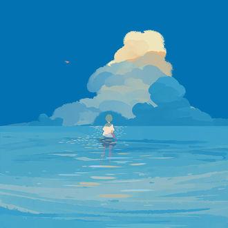 Фото Девушка стоит в море, art by Bangqiao Yan