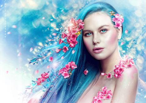 Фото Портрет модели Валентины Чижовой с голубыми волосами в весенних цветах, by IgnisFatuusII