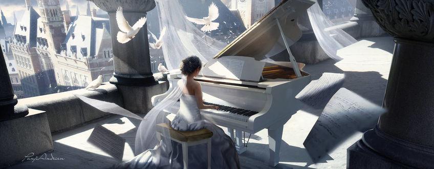 Фото Девушка в белом платье сидит за роялем в окружении парящих белых голубей, by panjoool