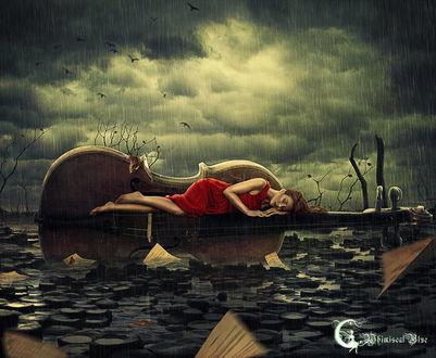 Фото Работа The Weeping Violin / плачущая скрипка, девушка в красном платье лежит на скрипке под дождем, by WhimsicalBlue