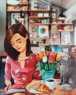Фото Девушка что-то записывает в блокноте, сидя за столом, на котором сидит кошка, стоит выза с тюльпанами, чашка кофе и лежит круассан, by dariart. art