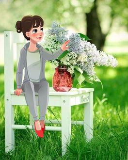 Фото Девушка сидит на стуле, рядом стоит букет черемухи, by dariart. art