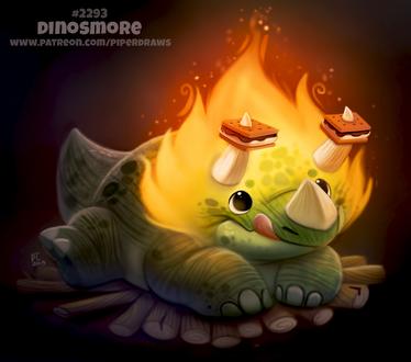 Фото Динозаврик с огнем, и сладостями на рожках (Dinosmore), by Cryptid-Creations