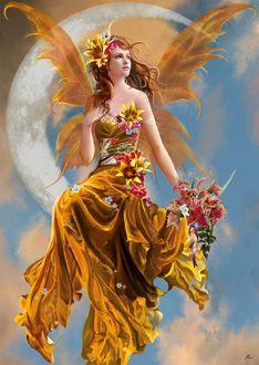 Фото Девушка-фея в золотистом платье с цветами сидит на полумесяце в небе, художница Nene Thomas