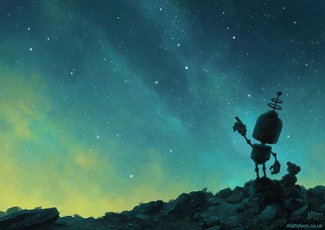 Фото Робот и плюшевый мишка смотрят на ночное небо, by MattDixon