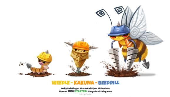 Фото Weedle / Видл, Kakuna / Какуна и Beedrill / Бидрилл из аниме Pokemon / Покемон (Weedle / Kakuna / Beedrill), by Cryptid-Creations